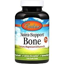 Carlson Nutra-Support Bone, Calcium, Magnesium, Vitamins D3, 100 Soft Gels