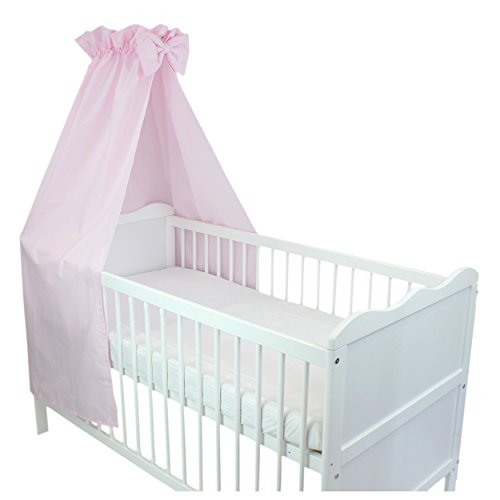 Babybett Himmel Baumwolle Baby Betthimmel Kinderbett Babybetthimmel mit Schleife Eule Rosa Blau Weiß, Farbe: Rosa, Größe: ca. 160x240 cm