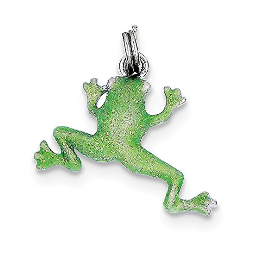 ICE CARATS 925 Sterling Silver Green Enamel Frog Pendant Charm Necklace Animal Fine Jewelry Ideal Mothers Day Gifts For Mom Women Gift Set From Heart (Frog Silver Enamel Sterling Green)