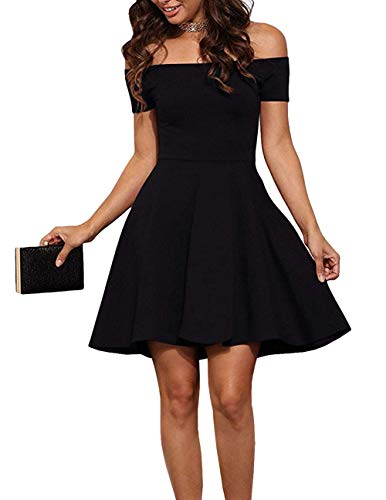 (INFITTY Womens Off Shoulder Short Sleeve Swing Party Prom Cocktail Skater Dress Black Small)