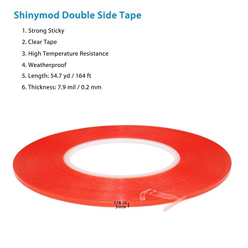 Shinymod PET Acrylic Double Side Adhesive Clear Tape Strength Sticker Heavy Duty Self-adhesive for Repair Cellphone Touch Screen Digitizer LCD Display Tablet PC 7.8mil X 164ft (1/8 inch)
