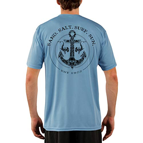 (SAND.SALT.SURF.SUN. Shark Anchor Men's UPF 50+ Short Sleeve T-Shirt Medium Columbia Blue)