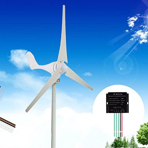Kinbelle Wind Turbine 400W Hybrid Wind Generator 24V 3 Blades w/Controller Homes Businesses Industrial Energy Supplementation Wind Generator Kit