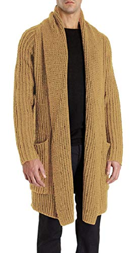(Enjoybuy Mens Shawl Collar Open Front Cable Knit Long Cardigan Sweaters Coats with Pockets)