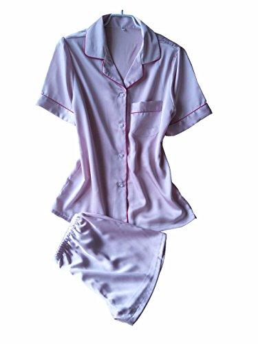 Yall Pijama Imitación Seda Short-Sleeved Cómodos Shorts Traje p