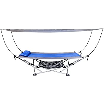 Medium image of mac sports portable fold up hammock with removable canopy  u0026 carry case