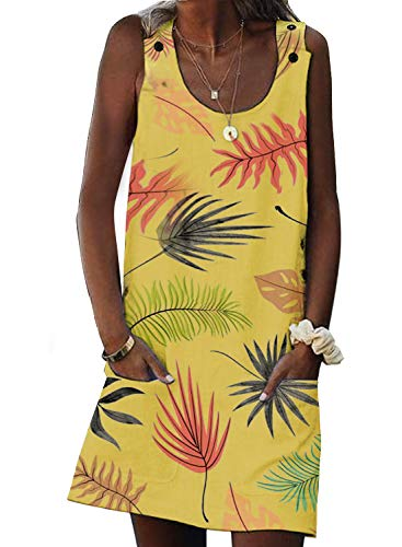 Asvivid Womens Summer Palm Tree Printed Sleeveless Crewneck Casual Loose Pocket Vest Tunic Short Dress M Yellow