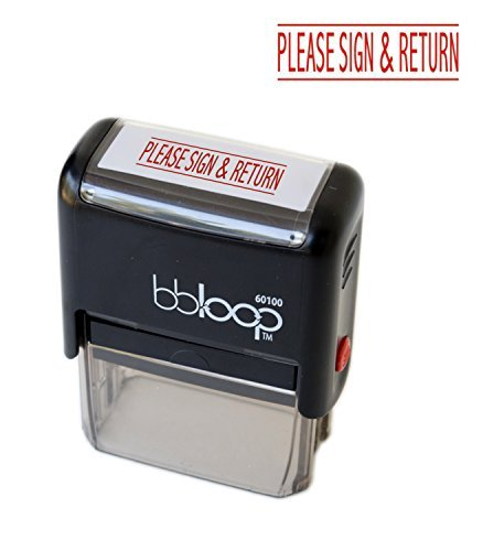 Bbloop  Please Sign And Return  Self Inking Stamp  Rectangular  Laser Engraved  Red