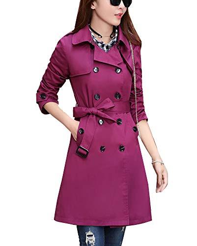 GladiolusA Manteau Femme Long Trench Coat Manteaux Veste Longue Blouson Violet