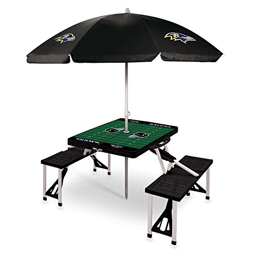 NFL Baltimore Ravens Picnic Table Sport with Umbrella Digital Print, One Size, Black by PICNIC TIME