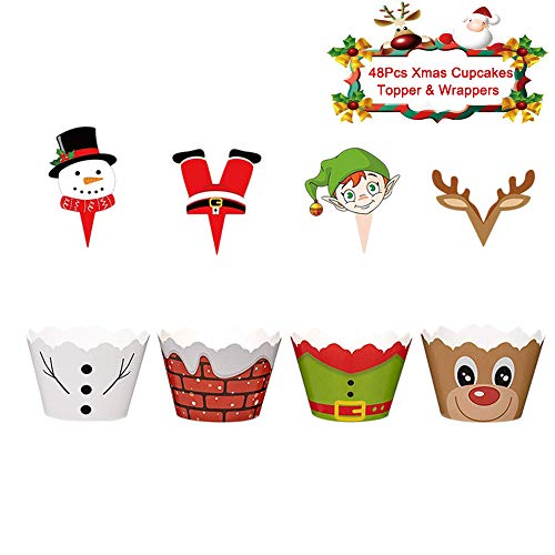 Christmas Cupcake Toppers and Wrappers ,48 Pcs Xmas Cake Decoration Snowman Santa Claus Reindeer Elf Cupcake Picks for Christmas Party Decoration Supplies
