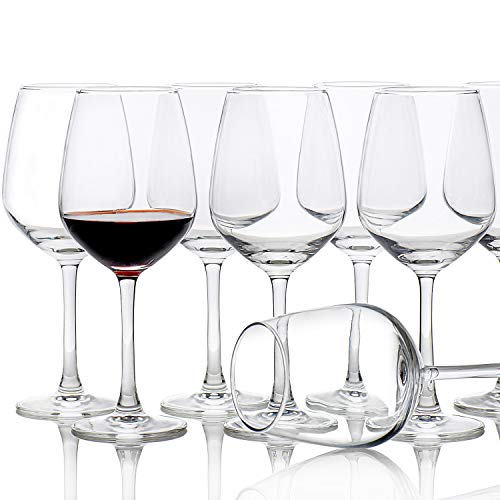 Red White Wine Glasses Set of 8(15 oz), Elegant Simple Clear Wine Cups, Business Party Drinkware