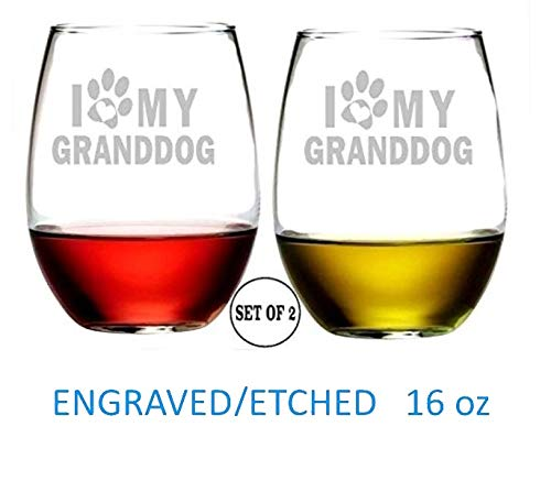 I Love My Grand Dog Stemless Wine Glasses   Etched Engraved   Perfect Fun Handmade Present for Everyone   Dishwasher Safe   Set of 2   4.25