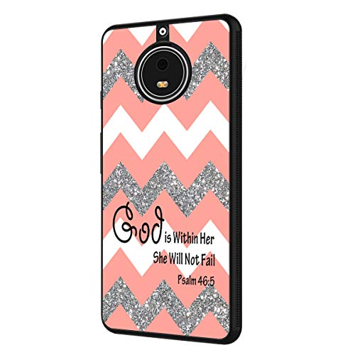 Moto E4 Plus Case (US Version),BOSLIVE Bible Verse Psalm 46:5 Coral Glitter Chevron Canvas Background Design TPU Slim Anti-Scratch Protective Cover Case for Motorola Moto E4 Plus]()