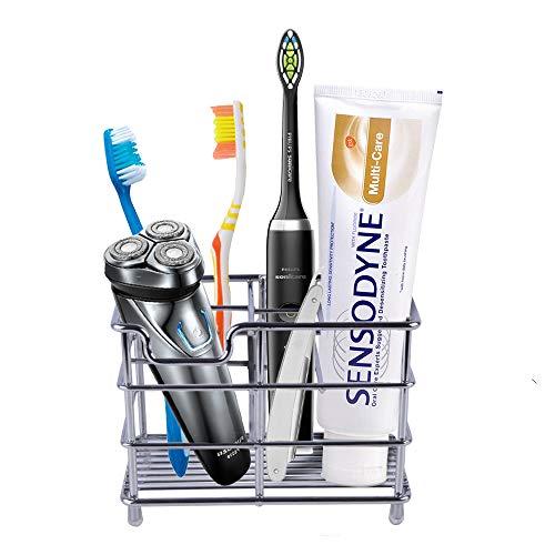 Eathtek Toothbrush Holder, Stainless Steel 6 Slots Bathroom Toothbrush Organizer.Multi-Functional Stand Rack for Electric Toothbrush,Toothbrush,Toothpaste,Cleanser,Razor,Scissors.