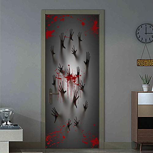 MISSSIXTY Happy Halloween 3D Door Wallpaper Murals Wall Stickers Self-Adhesive Vinyl Removable Art Door Decals 30.3x78.7
