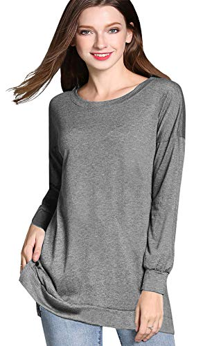(GSVIBK Womens Round Neck Pullover Tunics Casual Long Sleeve Side Split Tunic Sweatshirt Loose Tunic T Shirt Tops Light Gray 209 M)