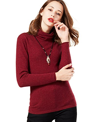 Artka Women's Super Soft Pure Cashmere Turtleneck Pullover Sweater Rust Red Size (Rust Cashmere)