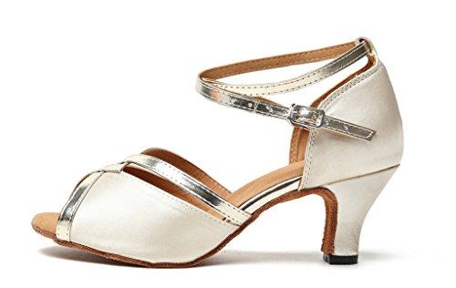 TDA CM106 Damen Knöchelriemen Satin Latin Modern Samba Rumba Hochzeit Tanzschuhe 6cm Absatz Beige