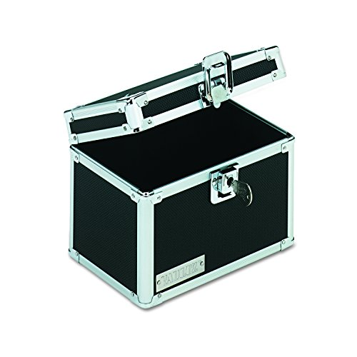 (Vaultz VZ01171 Locking Index Card File with Flip Top Holds 450 4 x 6 Cards, Black)
