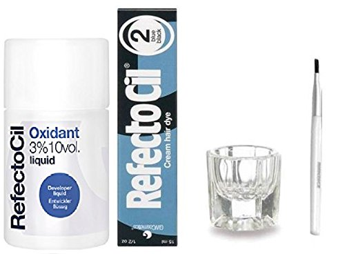 REFECTOCIL COLOR KIT- Blue Black Cream Hair Dye 1/2oz + Liquid Oxidant 3% 3.38oz + Mixing Brush +  Mixing Dish (Teenage Girl With Brown Hair And Blue Eyes)