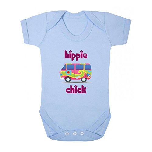 Hippie Mini (Colorful Minibus Pink Hippie Chick Baby Bodysuit One Piece Light Blue 12 Months)