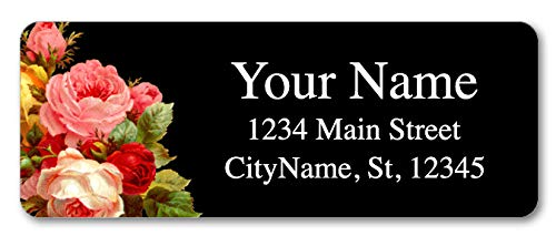 (Personalized Return Address Labels - Vintage Flowers Design - 120 Custom Self-Adhesive Stickers)