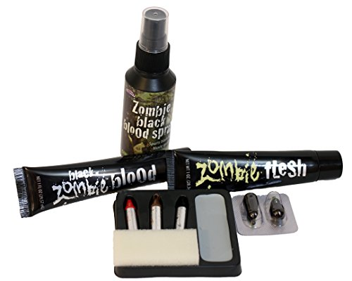 Fun World Zombie Makeup Bundle with Makeup Kit, Flesh, Black Blood Spray, and Thick Black Blood (4 Items)