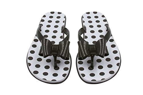 Leather Polka Dots Sandals - Sara Z Ladies Jelly Flip Flops with Bow and Eva Printed Footbed 9/10 Black/Polka Dots