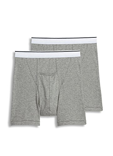Jockey Men's Underwear Pouch Boxer Brief - 2 Pack, Grey Heather, L