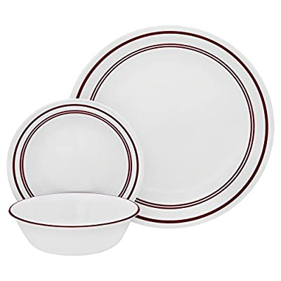 Corelle Livingware Dinnerware Set with Storage,Classic Cafe Red, Service for 4