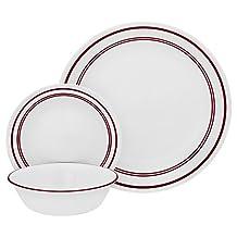 "Corelle 18 Piece ""Classic Cafe Red"" Livingware Dinnerware Set, White"