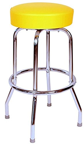 Richardson Seating 0-1950YEL Backless Swivel Bar Stool with Chrome Frame and Seat, Yellow, 30