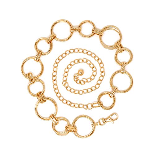 Women's Polished O- Ring All Over Links Metal Link Chain Waist Fashion Belt (Gold/Bigger O Ring)