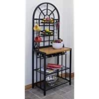 Steel Bakers Rack Wine Display Dining Bar Storage Shelves Kitchen Dome Black