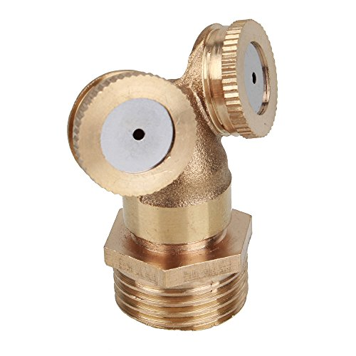 1/2 Inch External Thread Atomizing Copper Nozzle Double Nozzle Garden Misting Nozzles 2 Holes Garden Sprinklers Irrigation (Spray 2 Hole)