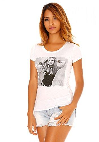 dmarkevous - Tee shirt blanc imprimé photo avril lavigne - M-L, blanc