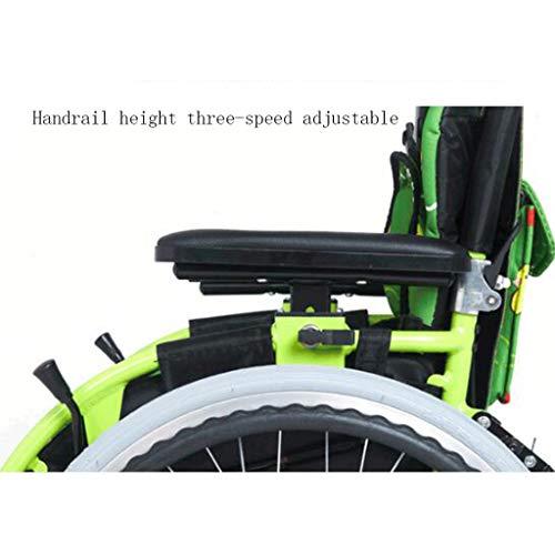 Sillas de ruedas Carro para niños Manual Scooter para discapacitados portátil Plegable Can Bear 100 kg (Color : Green, Size : 75 * 94 * 48cm): Amazon.es: ...