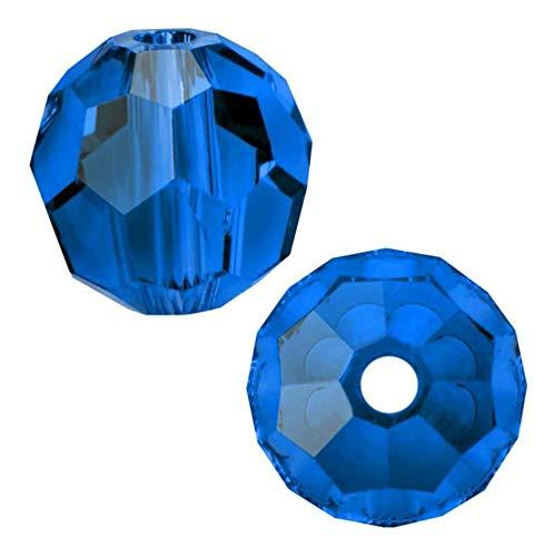 - 50pcs 4mm Adabele Austrian Round Crystal Beads Capri Blue Compatible with 5000 Swarovski Crystals Preciosa SS2R-425