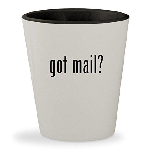 got mail? - White Outer & Black Inner Ceramic 1.5oz Shot