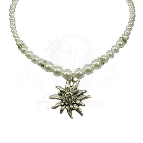 Alpenflüstern Edelweiss-Perlenkette Fiona (weiß) - moderner Trachtenschmuck, Trachtenkette und Trachten-Halskette fürs Dirndl
