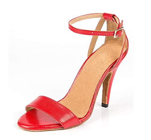 Slim Dancing Shoes Women's Latin Wedding Tango Minitoo Red Ankle Strap Sandals AUnwF