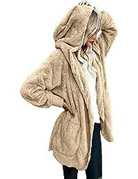 Womens Winter Open Front Loose Hooded Fleece Sherpa Jacket Cardigan Coat