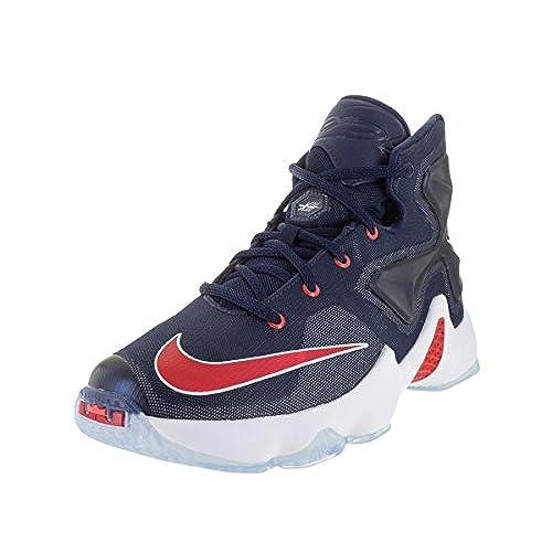Nike LEBRON XIII GS Mid Navy/University Red-White Boys Basketball Shoes  Size 7