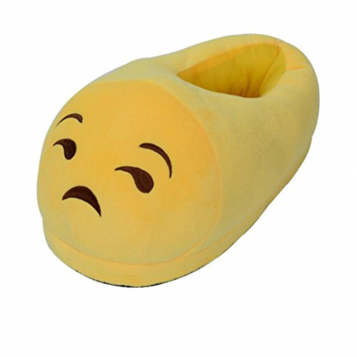 Akanbou Unisex Cute Funny Warm Emoji Home Slippers Cartoon Plush Shoes for Adult Kids Varied Size (One Size 35-44EU, Depressed)