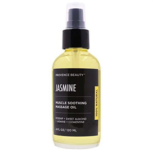 Muscle Soothing Massage + Aromatherapy Oil - Jasmine (Rosehip, Sweet Almond Oil, Jasmine, Clementine) Packed with Vitamins C & E, Pain Relieving Treatment - 4 FL OZ | Provence Beauty
