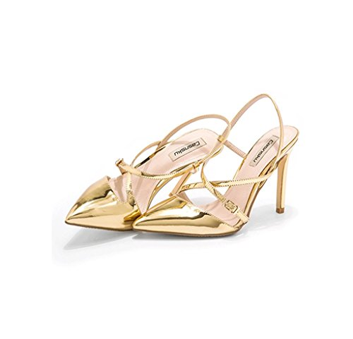Dream Pointed High Heels Elegant Sandals Sexy Ankle Shoes Leather Shoes (Color : Gold, Size : 39)