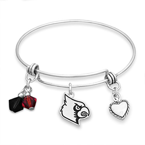 FTH Silver Tone Wire Bracelet with Louisville Cardinal and Heart Charm and Colors]()
