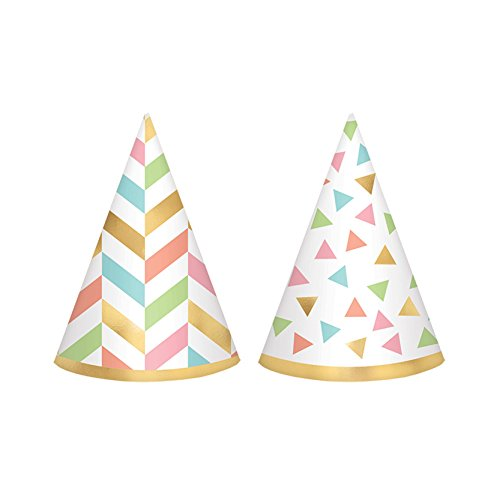 Amscan 251927 Confetti Fun Mini Foil Cone Hat, 4