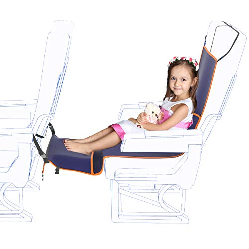 Travel Bread Airplane Footrest Hammock, Portable Travel Footrest Adjustable Height Flight Hammock Provides Relaxation and Comfort for Long Flight Sleeping (Dark Blue)